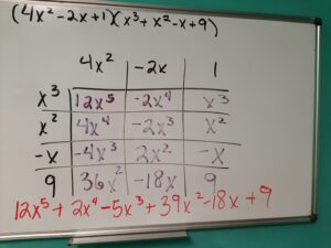 Multiplying complicated polynomials using the box method